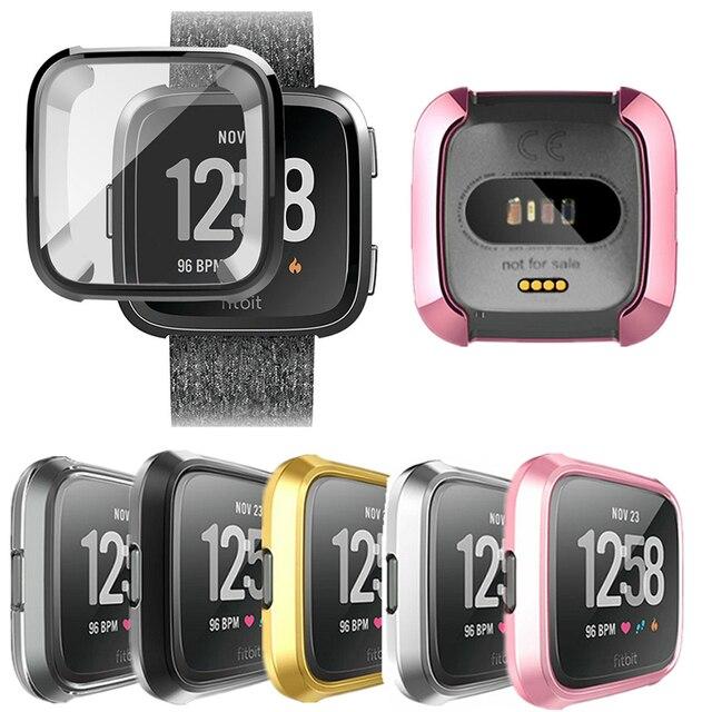 Placage + TPU De Protection En Silicone Cas pour Fitbit Versa Plein Écran Protecteur Cas Flexible pour Fitbit Versa Smartwatch Soft Shell