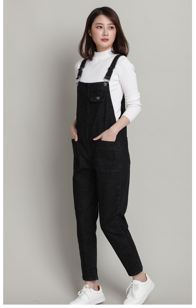 New Spring Autumn Fashion Brand Plus Size L-6xl Jeans Loose Casual Full Length Overalls Big Size Denim Pants Woman Jumpsuits D28
