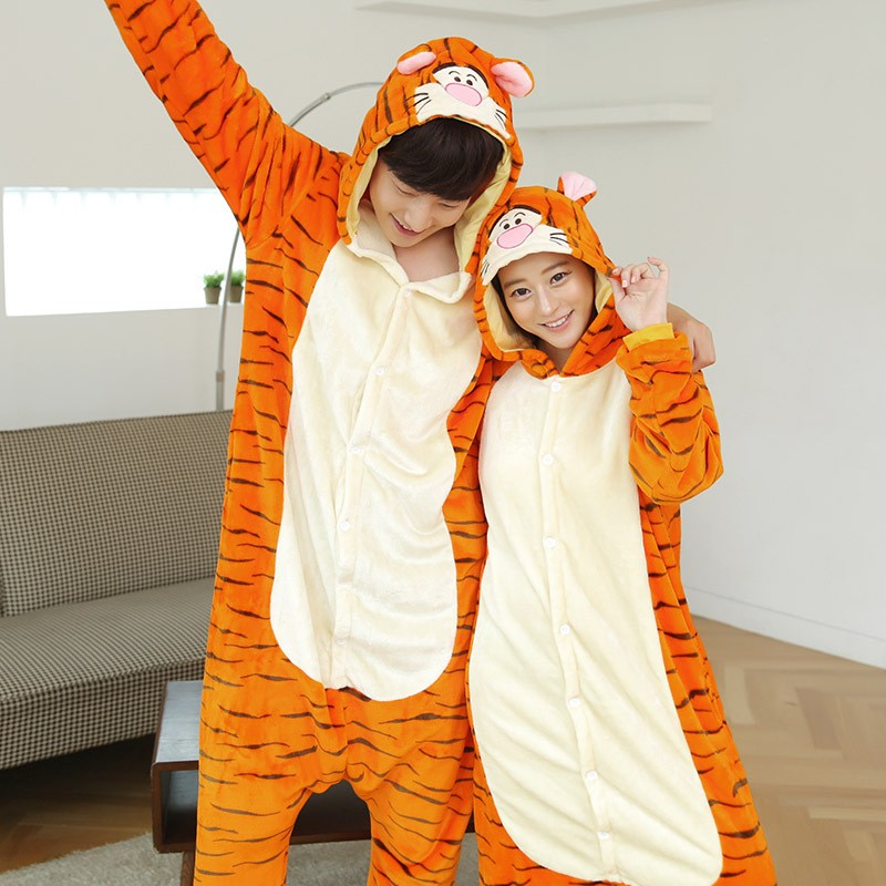Autumn Spring Winter Flannel Lovers Couples Women Tigger Pajamas One Piece Cartoon Sleepwear For Adult Onsies Animal