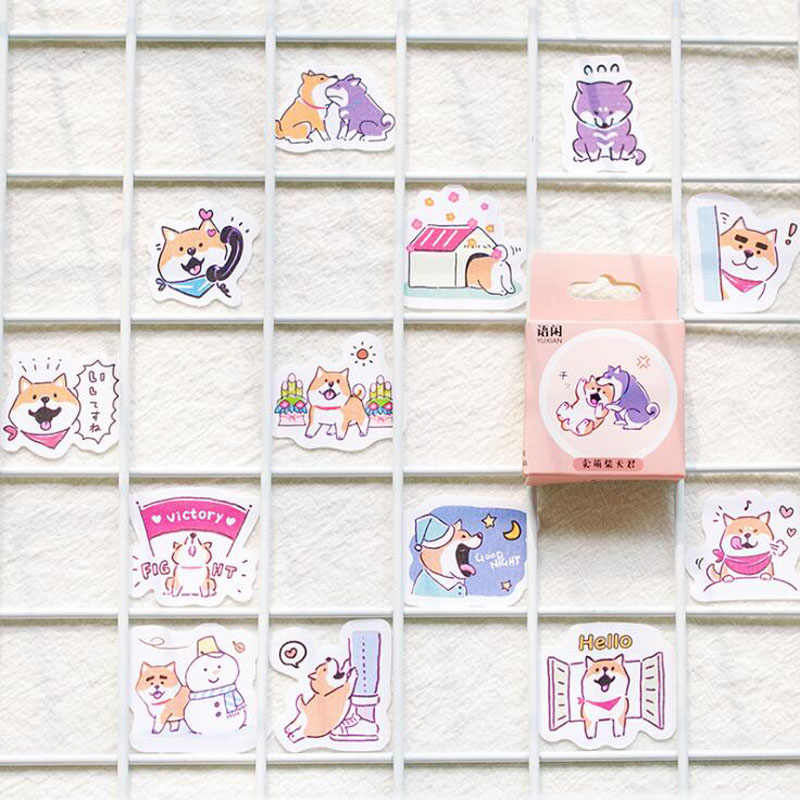 45Pcs/set Kawaii Dog Travel Log Sticker Creativa Journal Scrapbook Stickers Pattern Diary School Supplies Stationery Stickers