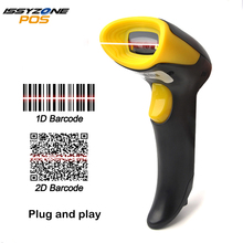 IssyzonePOS 2D OR barcode scanner Wired Plug and play with USB Cable Support EAN PDF417 Code 128 UPC code reader LED Scanner zebra ds2208 sr handheld 2d omnidirectional barcode scanner imager 1d 2d and pdf417 with usb cable