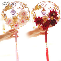 PEORCHID Red Pink Gold Wedding Bouquets Brooches Pearl Rose Artificial Chinese Style Round Hand Fan Bridal Flower Bouquet 2019