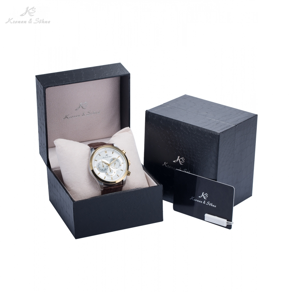 Luxury Gift Box Navigator KS Auto Date Day 24 Hrs Male Classic Wristwatch Mens Automatic Self Wind Mechanical Watches /KS266-269 luxury gift box ks imperial auto date day male clock leather strap wristwatch automatic mechanical watch men watches ks182 185
