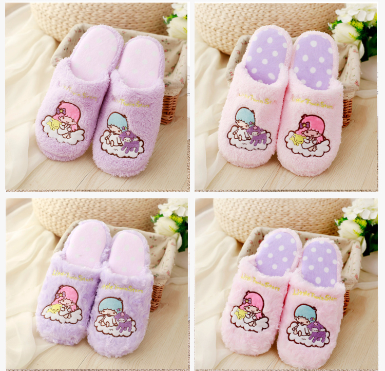 Cartoon Little Twin Star Winter Indoor Slippers Collection Dolls Toys Stuffed Doll Shoes Gift For Children Love Pet #1298