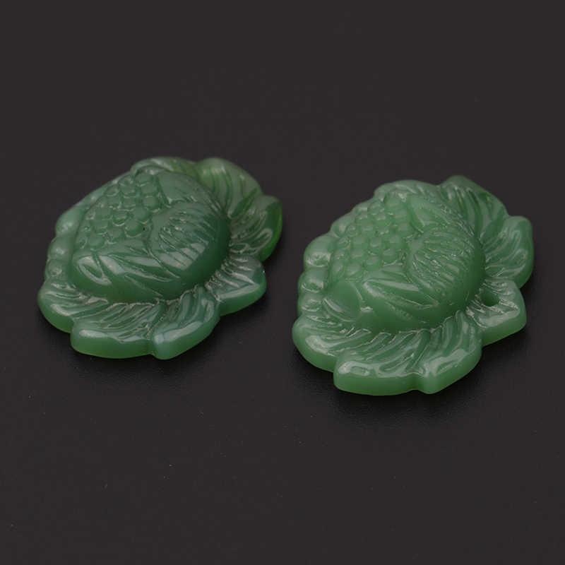 Яркий ручной резной цветок лотоса натуральный зеленый нефритовый жадеит ювелирный кулон новейший