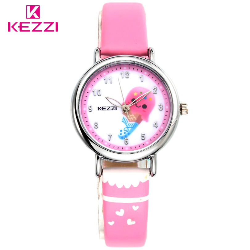 KEZZI Children Fashion Watches Quartz Watch Boys Girls Cartoon Leather Watchband Baby Wristwatches Gift Clock Watch