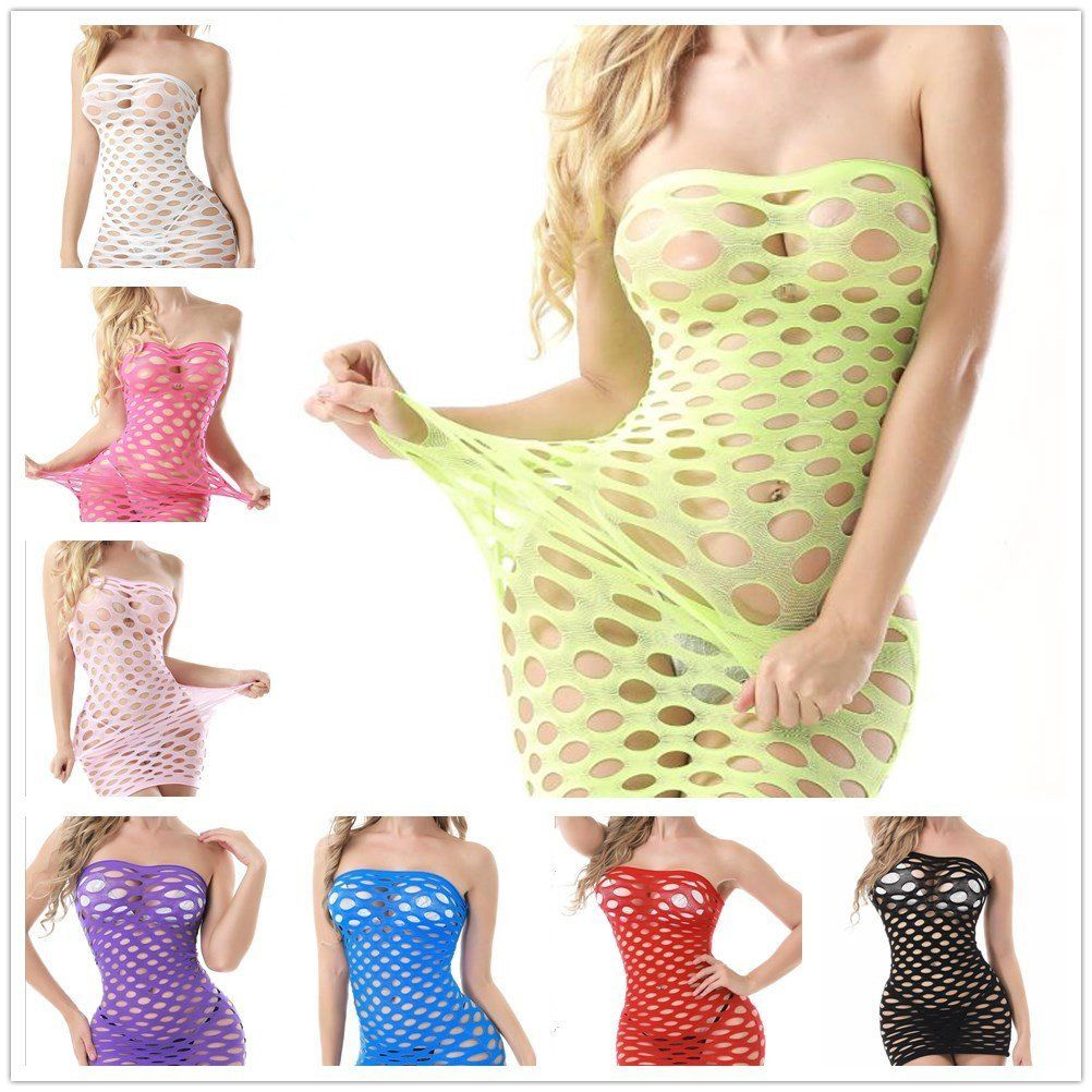 2019 Women Hot Sexy Lingerie Strapless Hollow Out Fishnet Suit Package Hip Mini Beach Dress Sexy Costumes Underwear Baby Dolls