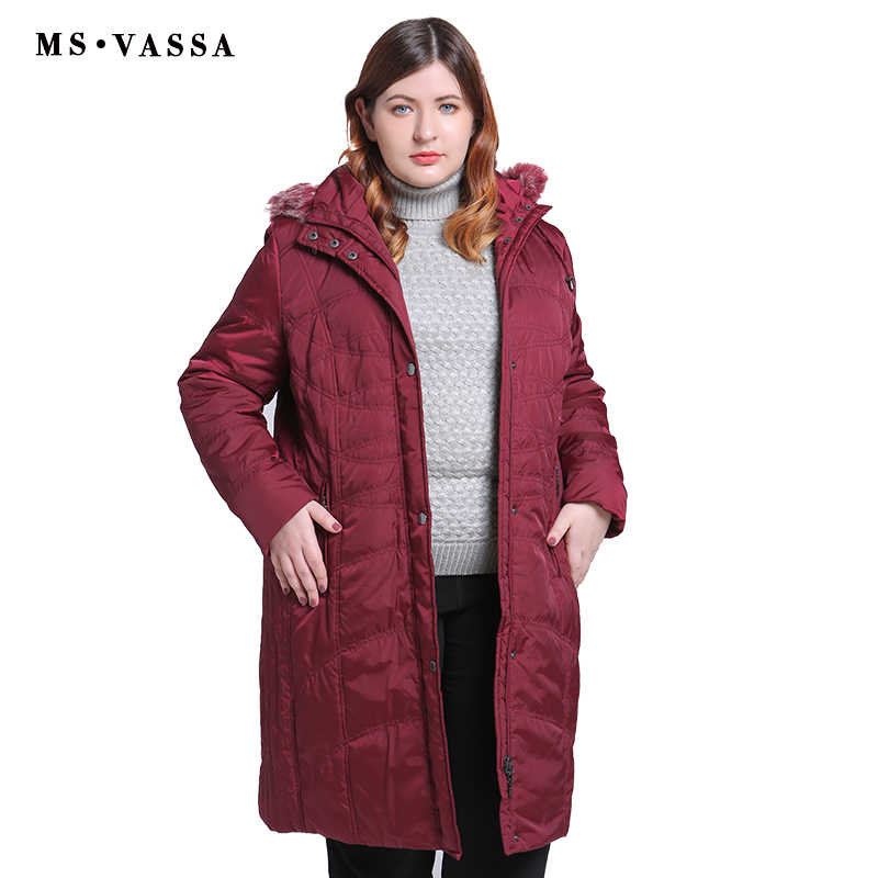 6dfe72e1e9a MS VASSA Большие размеры парки женские 2018 Новые пальто женские длинные  куртки с отложным воротником с