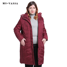MS VASSA Plus size Parkas Ladies 2019 New coats Women long Jackets Turn-down collar with hood big female outerwear