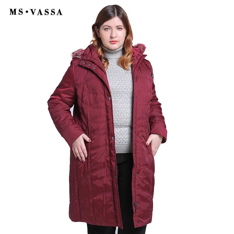 MS VASSA Plus size Parkas Ladies 2019 New coats Women long Jackets Turn-down collar with hood big size female outerwear big size