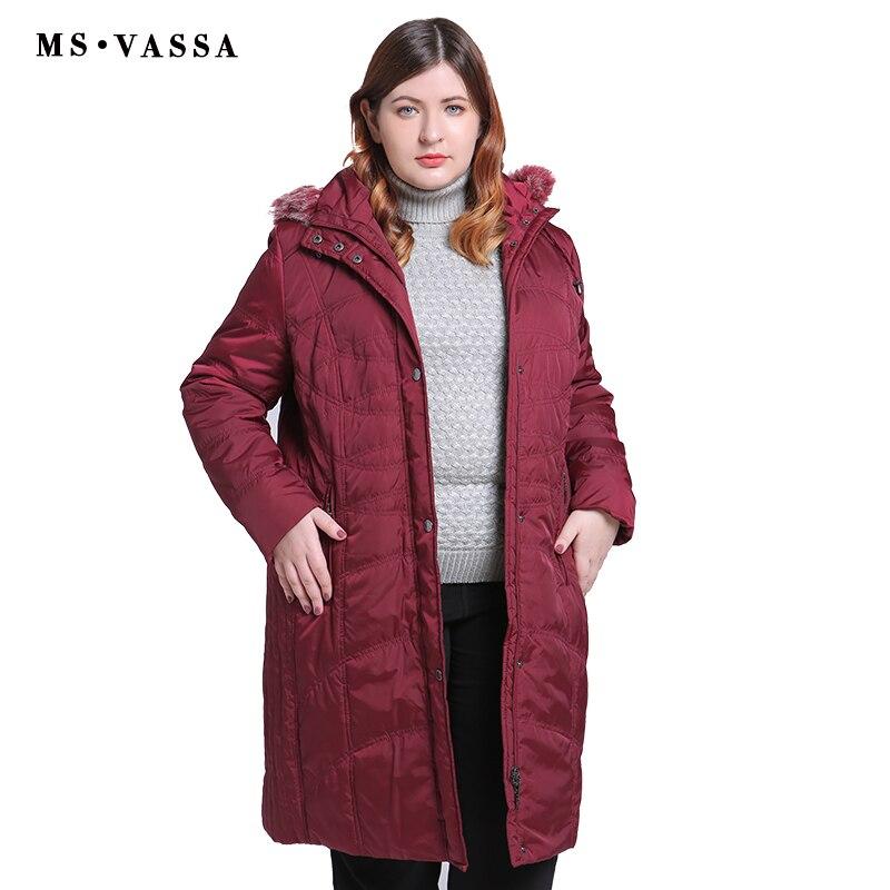 MS vassa 플러스 사이즈 parkas ladies 2019 new coats 여성 롱 자켓 턴 다운 칼라 후드 빅 사이즈 여성용 겉옷 빅 사이즈-에서파카부터 여성 의류 의  그룹 1