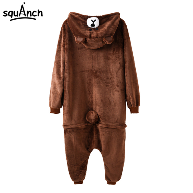 Brown Bear Onesie Animal Kigurumi Cartoon Costume Adult Women Men Overalls Funny Pajama Carnival Holiday Fancy Suit Flannel Soft