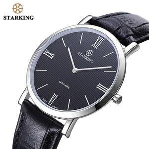 Image 4 - STARKING montre à Quartz noire pour hommes, montre bracelet rétro, en cuir véritable, saphir, pour le Business, 3ATM, haut tendance