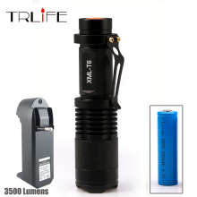LED CREE XM-L T6 Flashlight 3500 Lumens Torch 5 Mode Zoomable Bicycle Flashlight+18650 Rechargeable Battery + Charger