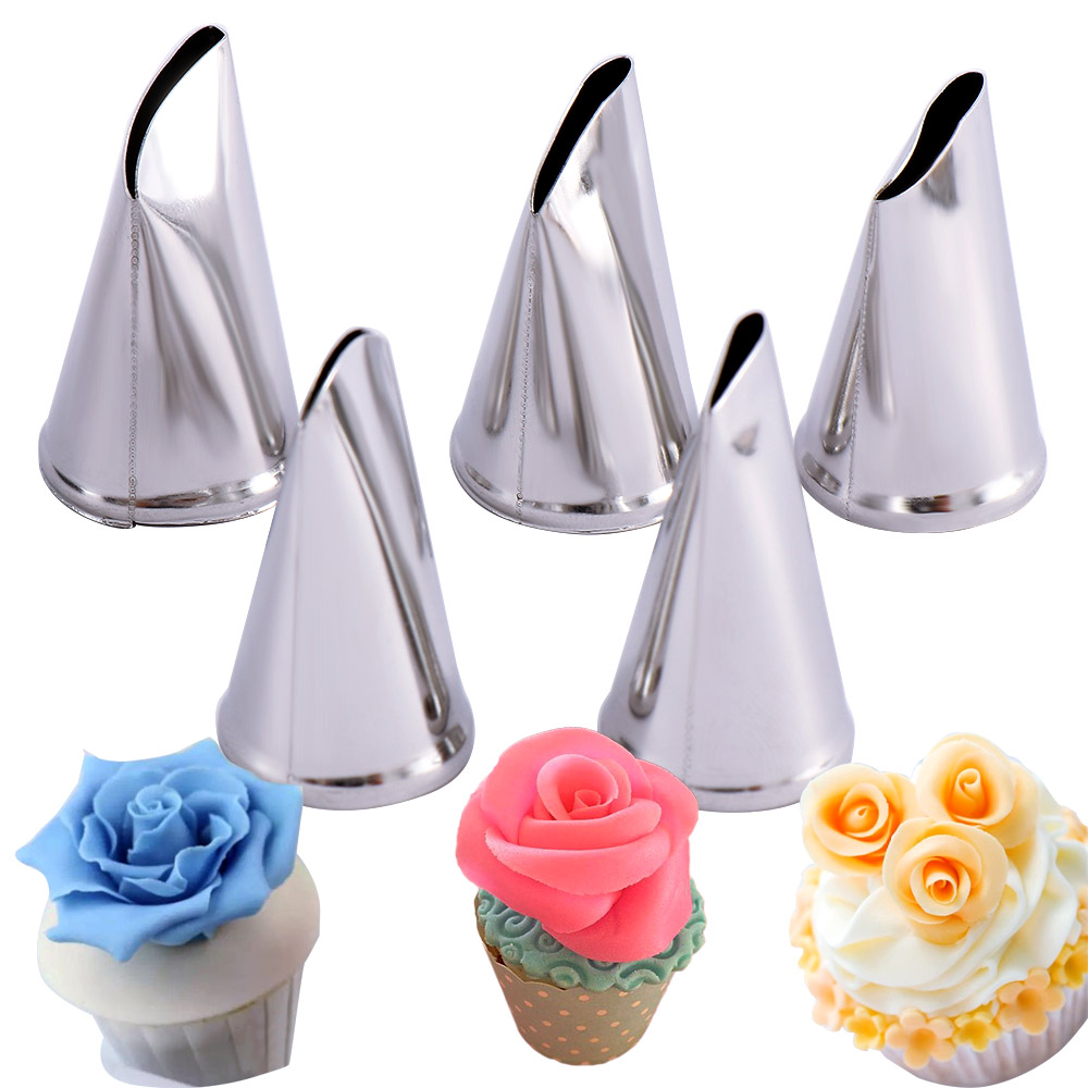 5pcs/set Cake Decorating Tips Set Cream Icing Piping Sugar craft Rose Nozzle Pastry Tools Fondant Decorating Tools