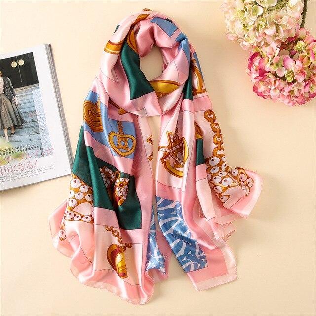 Chaînes Écharpe Femmes Printemps Longues Écharpes Plage Châle Wrap Satin  Soie Hijabs Fille Rose Bleu Femme 967f27f9cc5