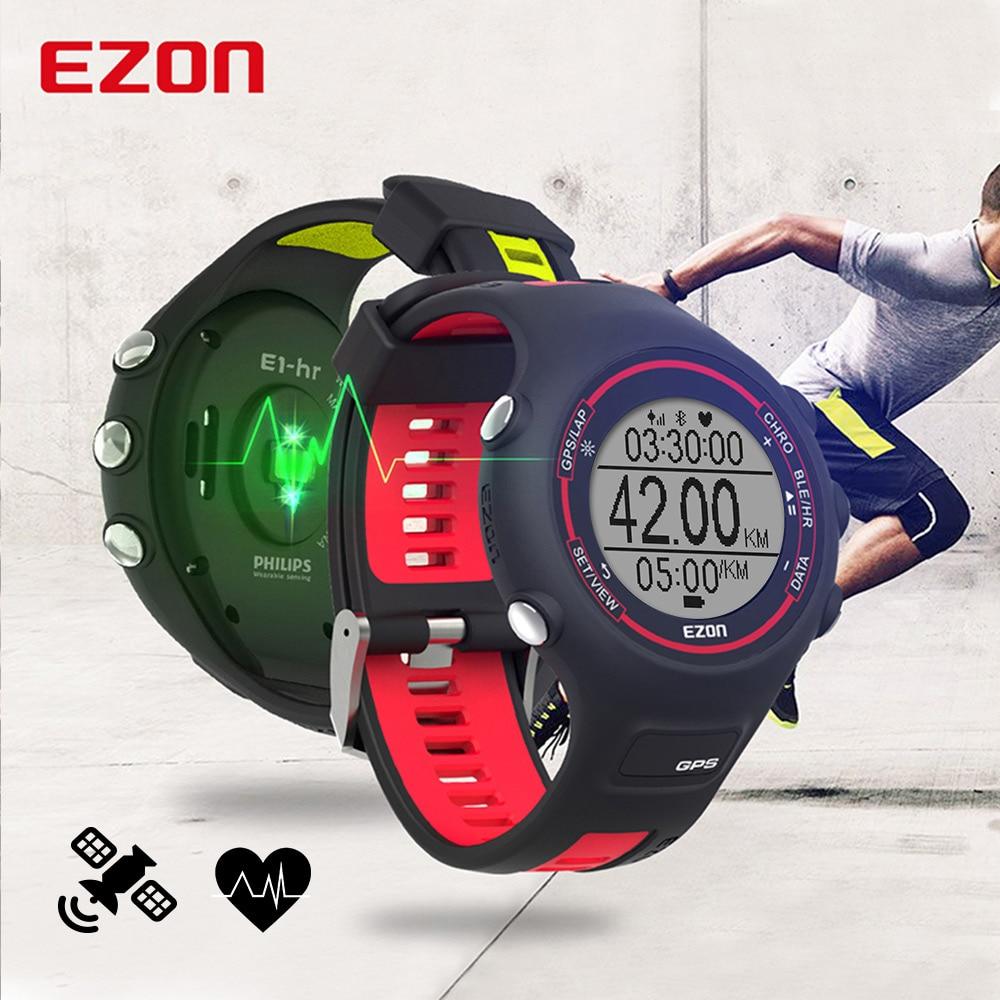 Męska cyfrowy zegarek do biegania z GPS Bluetooth i tętna na nadgarstku prędkości odległość tempo kalorii EZON T907 HR w Zegarki cyfrowe od Zegarki na  Grupa 1