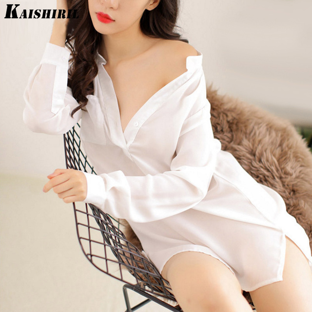KAISHIRIL Sexy Lingerie White Shirt Nightgowns Sexy Sleepwear Women Lingerie Sexy Hot Nightgown Women Night Dress High Quality