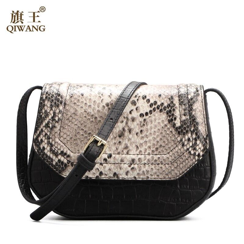 Handbag Women Real Leather Saddle Bag Retro Bohemian Snakeskin Pattern Leather Soft Cute Cross Body Over Shoulder Bag