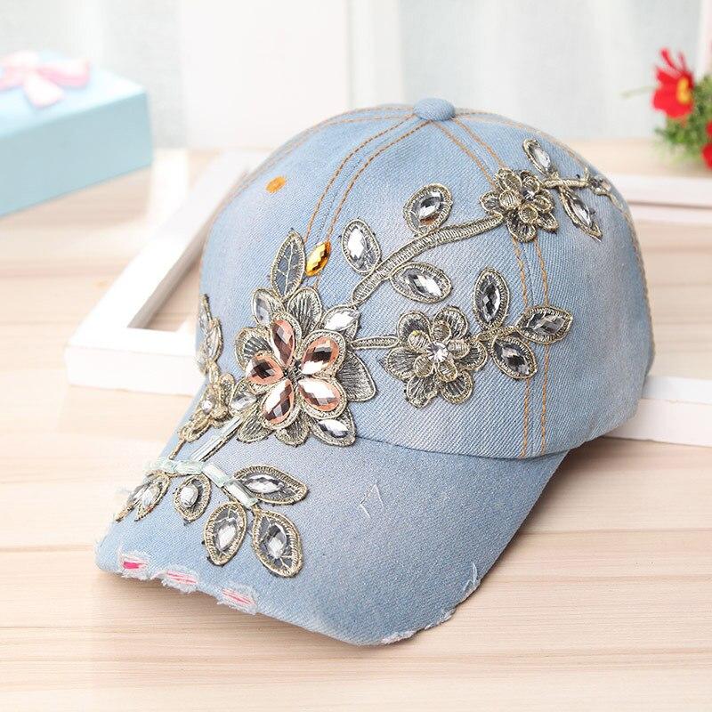 50pcs lot new fashion flower crystal bead bling cap  rhinestone denim  snapback hats baseball cd7b14a203bd