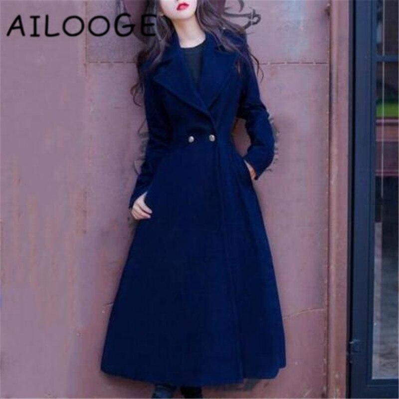 2018 Dark Laple Lady Chaud Mince Blue Vintage Laine Manteau Hiver longue Élégant Femmes X Mode Pardessus rpnTrC06q