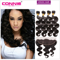 Malaysian Body Wave Full Frontal Lace Closure 13x4 With 4 Bundles Virgin Human Hair Weave Bundles With Lace Frontals Ear To Ear