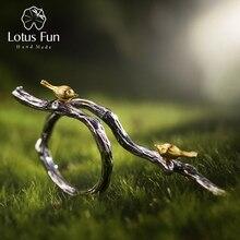 مجوهرات فاخرة مصنوعة يدويًا من الفضة الإسترليني 925 على شكل زهرة اللوتس ، خاتم قابل للتعديل على شكل طائر على شكل فرع خواتم للسيدات