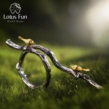 Lotus zabawy prawdziwe 925 Sterling Silver Natural Handmade projektant biżuterii regulowany pierścień ptak na gałęzi pierścienie dla kobiet Bijoux