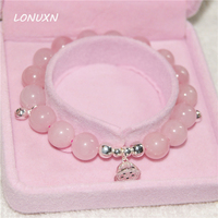 925 sterling silver cats pink crystal bracelet High quality female jewelry natural semi precious stones Lotus lovers sweet gift