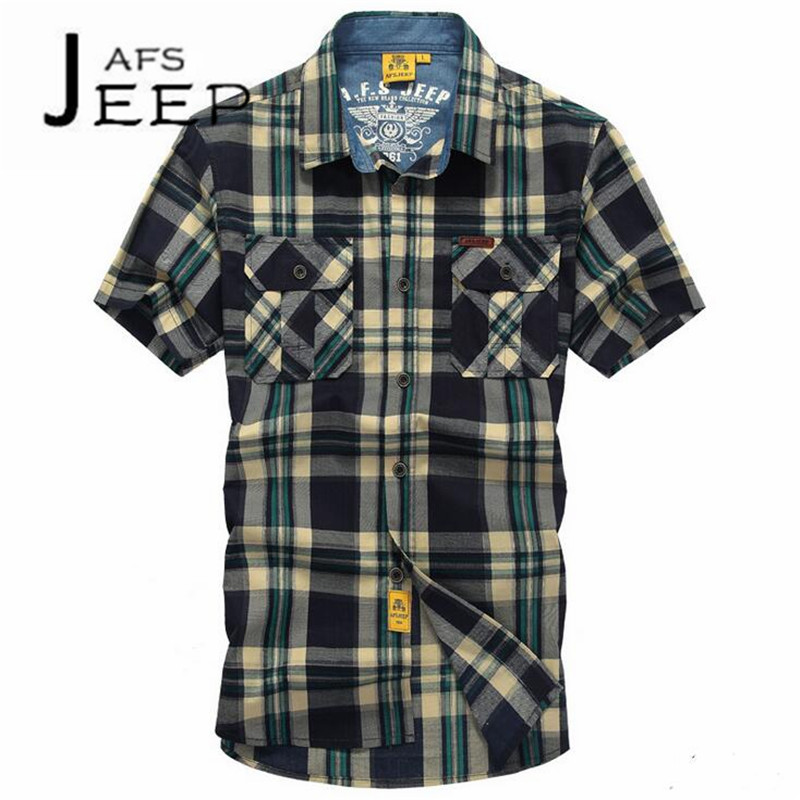 AFS JEEP rayas verticales Cotton made Mans Military Summer ocio short sleeve shirt,excellent quality motorcycle loose shirts
