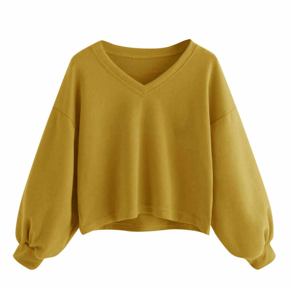 Прямая поставка, блузка, женский свитер с длинным рукавом, v-образный вырез, свитер для женщин, пуловер, рубашки, модные короткие одноцветные топы, Полная Блузка 0309