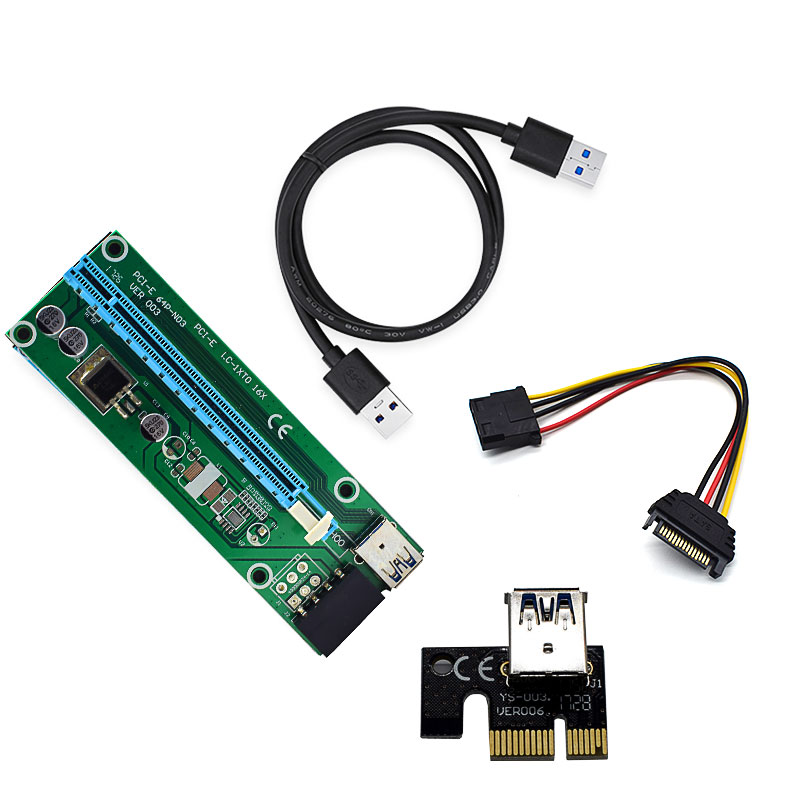 60cm PCI Express Cable PCI-E 1X To 16X Riser Card Extender 3.0 SATA 15 Pin To 4 Pin IDEMolex Adapter Mining Bitcion Miner