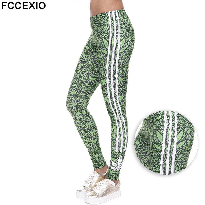 FCCEXIO 2019 Fashion Stretch Leggings Weeds White Stripes Print Fitness Legging Sexy Silm Legins High Waist Trouser Women Pants