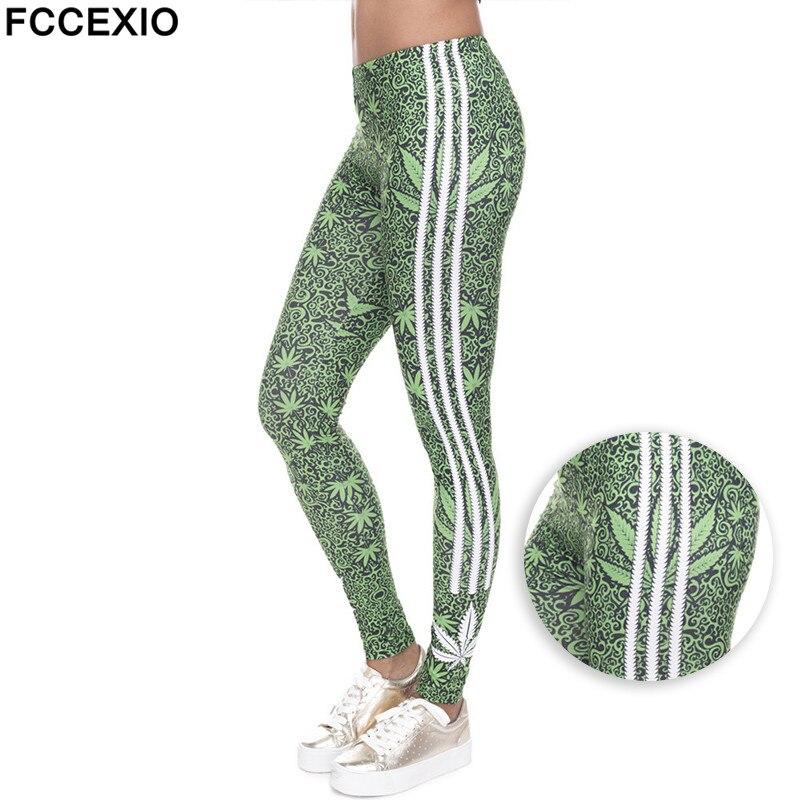 FCCEXIO 2019 Leggings Stretch Moda Ervas Daninhas legins Listras Brancas Imprimir Aptidão Legging Sexy Silm Calças De Cintura Alta Mulheres Calças