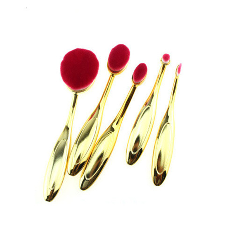 5PCS Gold Kit Makeup Brush For Power Makeup Brushes Cleaner Tool Blush Brush Face With Red Hair Confortable Big Handle HZS014