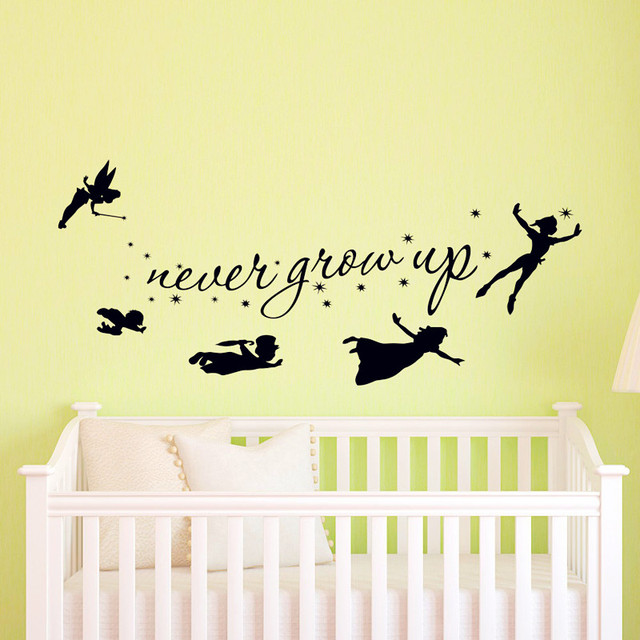 peter pan wall decal children flying silhouette never grow up