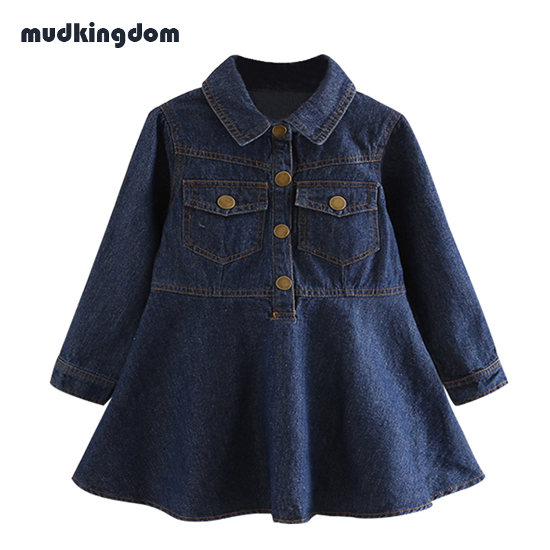 Mudkingdom Little Girls Winter Denim Dress Children Dark Blue Long Sleeve Turn Down Collar Dresses Kids Baby Girl Clothes 2017 dark blue doll collar pleated dress