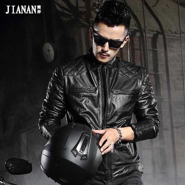 De cuero de vaca genuino mans otoño chaqueta masculina cuello alto del diseño corto delgado de la motocicleta chaqueta de motorista de cuero de la vaca