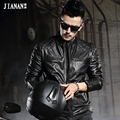 Genuine cowhide leather mans autumn jacket male short design stand collar slim motorcycle cow leather rider jacket