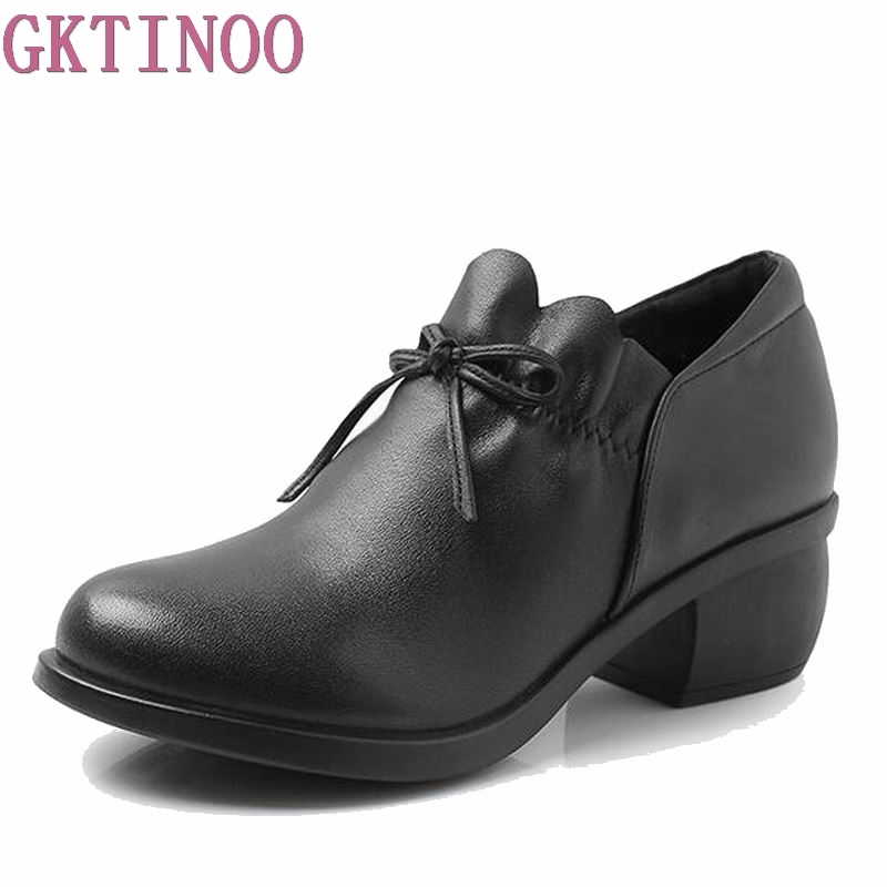 цены 2018 Genuine Leather Women Shoes Thick Med Heels Work Dress Shoes Pumps Spring Autumn Black Boots Women Size 40 G0118