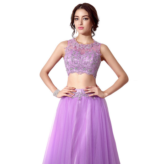 Online Shop Cheap In Stock Lilac 2 Piece Prom Dresses With Lace