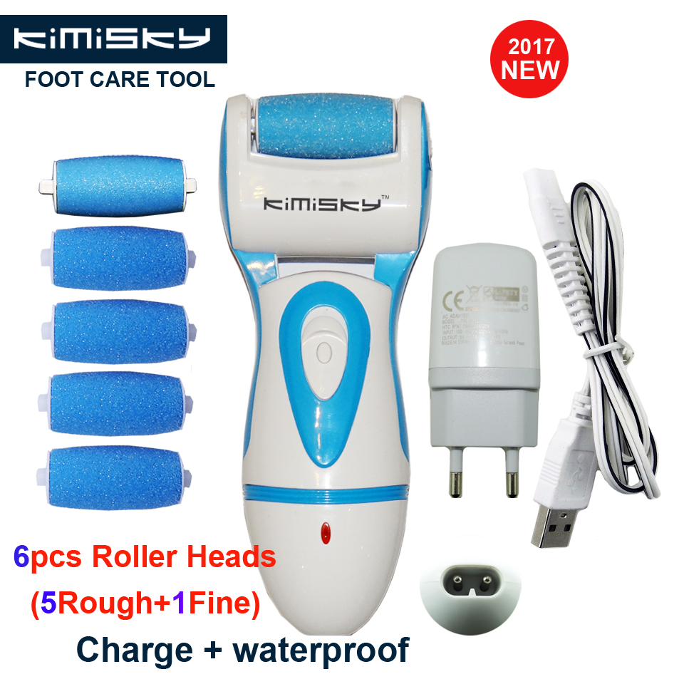 KIMISKY Blue Rechargeable and Waterproof Foot Care Tool Pedicure Callus Remover Foot Exfoliator Feet Dead Skin 5Ps Rollers Heads electric foot dead skin exfoliator callus remover rechargeable pedicure foot care tool feet dry skin removal