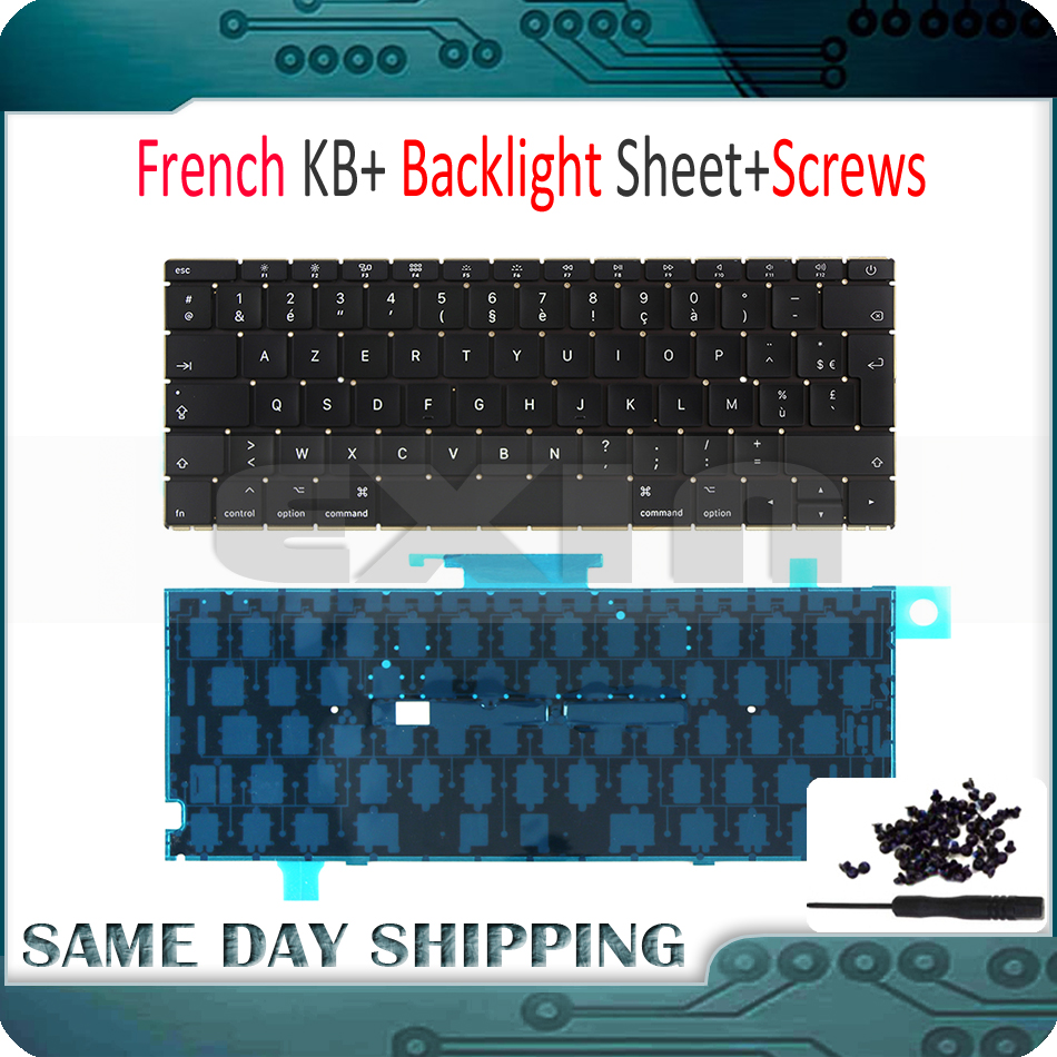 New Laptop A1534 French Keyboard w/ Backlight Backlit +Screws for Macbook 12 A1534 FR AZERTY FRANCE Keyboard 2015 2016 2017 Y brand new azerty fr french keyboard backlight backlit 100pcs keyboard screws for macbook pro 15 4 a1286 2009 2012 years