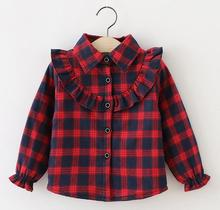 Wholesale (4 / lot) -2016 Korean version of the new children's shirt girls winter pure color grid plus velvet bottom shirt