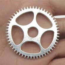 WYSIWYG 2pcs/lot Jewelry Making DIY Handmade Craft Charms Antique Silver Color 42x42mm Gear Pendant