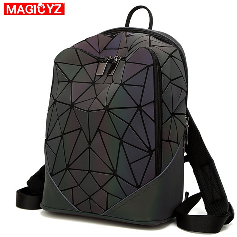 MAGICYZ Women Backpack Luminous Geometric Plaid Men Backpacks For Teenage Girls Bagpack Bag Holographic Backpack School Mochila