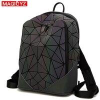 MAGICYZ Women Backpack Luminous Geometric Plaid Men Backpacks For Teenage Girls Bagpack Bag Holographic Backpack School Mochila
