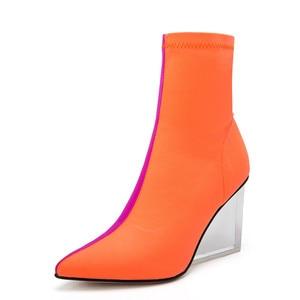 Image 3 - MORAZORA/Новое поступление 2020 года; женские ботильоны; разноцветные ботинки с эластичными носками на молнии; прозрачные женские модельные туфли на танкетке для вечеринок