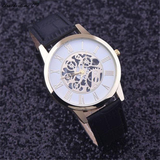 2017 Best Deal Fashion Golden hollow watch, Luxury Casual steel Men's Watch Busi