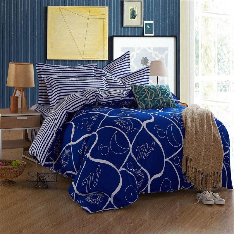 ᗔ2016 azul patrones geométricos de viento moderno estilo edredón 4 ...